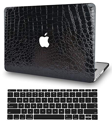 KECC Laptop Case for MacBook Pro 13' (2020) w/Keyboard Cover Italian Leather A2289/A2251 Touch Bar 2 in 1 Bundle (Black Crocodile Leather)