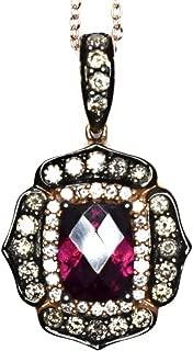 LeVian Pendant Rhodolite Garnet Chocolate White Diamonds Necklace 14k Rose Gold