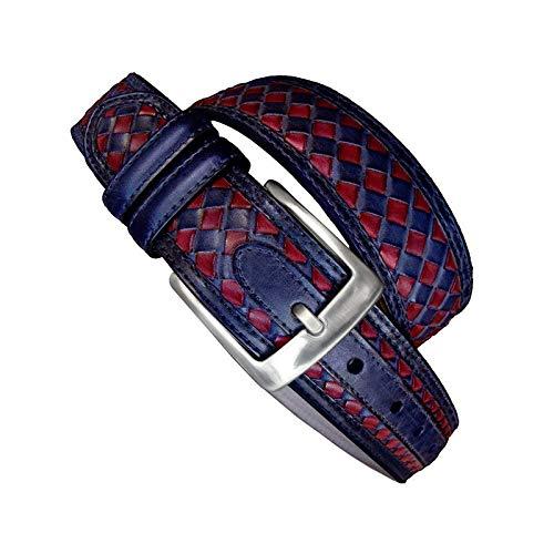 Leyva - Cinturón de hombre de piel en color rojo y azul...