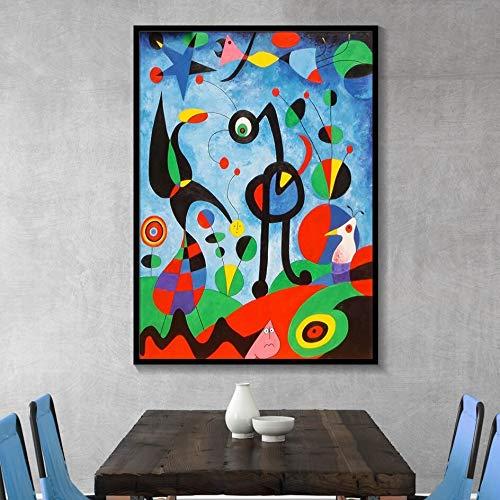tzxdbh Joan Miro Abstrakte Aquarell Wandkunst Poster Und Druck Berühmten Leinwand Malerei Wohnzimmer Dekoration Bild50X70