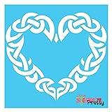 Stencil - The Viking Heart - Norse & Celtic Knot Symbol Template-XS (8' x 7')| Brilliant Blue Color Material