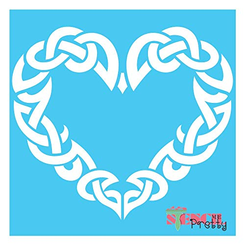 Stencil - The Viking Heart - Norse & Celtic Knot Symbol Template Best Vinyl Large Stencils for Painting on Wood, Canvas, Wall, etc.-XS (8' x 7')| Brilliant Blue Color Material