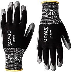 professional Polyurethane Coated Work Gloves – 12 Pairs, KAYGO KG15P, Nylon Light Polyurethane Protective Work Gloves, Gray…