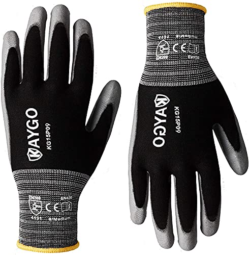 Work Gloves PU Coated-12 Pairs,KAYGO KG15P,Nylon Lite Polyurethane Safety Work Gloves, Gray Polyurethane Coated, Knit Wrist Cuff,Ideal for Light Duty Work (Large, Black)