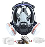 Reusable Respirator Mask Full Face with Anti-dust Filters, Silicone Facepiece Anti-Fog Lens Cover Eye Protection Gas Mask, Wide Field of View Respirator for Painting Dust Work Protection