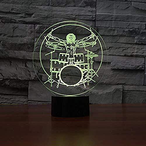 Luz nocturna ilusión 3D 7 colores LED visual niños tambor rock instrumento mesa de escritorio bebé durmiendo en la habitación de los niños regalo colorido control remoto