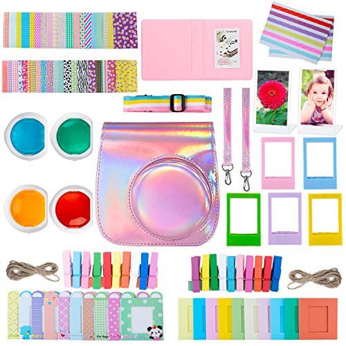 ZWOOS 10 in 1 Zubehör Kompatibel mit Instax Mini 11 Sofortbildkamera, einschließlich Kameratasche, Album und Anderen Elementen zum Sammeln und Anzeigen von Fotos (Regenbogenrosa)