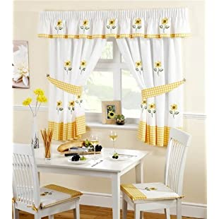 Lemon Kitchen Curtains Ready Made Sunflower 46 x 48 by Ideal Textiles:Eventmanager