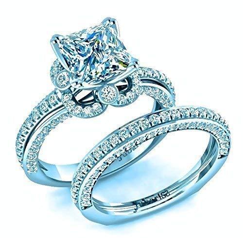 Amazon Com 2 55 Tcw Princess Cut Diamond Engagement Ring Wedding Band Bridal Sets Square Bezel Halo 14k Gold Custom Classic Jubariss Fine Jewelry Handmade