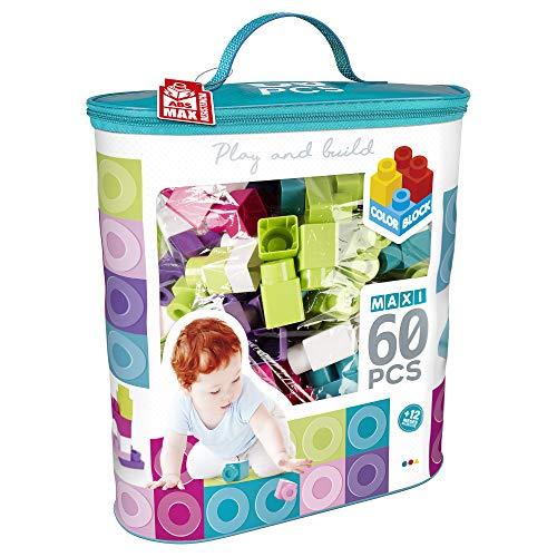 ColorBaby - Bloques construccion bebe 60 piezas, Bolsa bloques maxi, Cubos de colores, Juguetes bebes 1 año, Juegos construccion, Ladrillos para apilar, ladrillos construccion niños (49283)