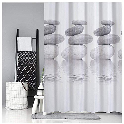 Queta Duschvorhang Anti-Schimmel Badewanne Vorhang 180x180 Wasserdichter Shower Curtain mit 12 Duschvorhangringen (Mittlerer Steine)