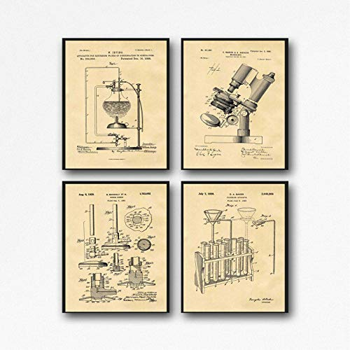 WallBuddy - Póster científico de laboratorio, diseño de Microscopio, Pergamino, 16.5 x 23.4 (A2)