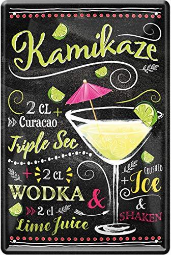 Kamikaze Cocktail Curacao Triple Sec Vodka Lime Juice Ice 20 x 30 cm Bar Party sótano Cartel de chapa 1310