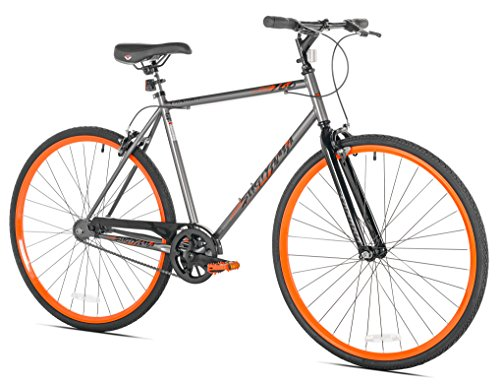 Takara Sugiyama Flat Bar Fixie Bike, 700c, Gray/Orange, Medium/54cm Frame