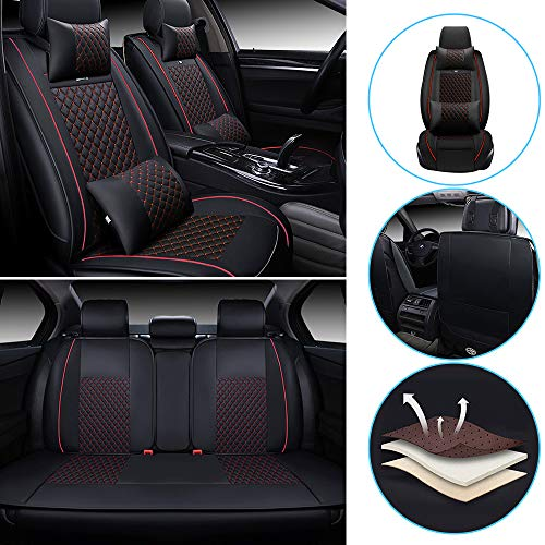All Weather Custom Fit Seat Covers for Nissan Leaf 370Z GT-R Rogue Quest 5-Seat Full Protection Waterproof Car Seat Covers Ultra Comfort Luxury Package Plaid Black&red Full Set
