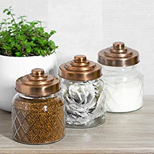 3 x Glass Storage Canisters with Copper Coloured Lids:Wenstyle