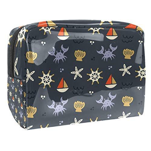 Bolsa de maquillaje portátil con cremallera, bolsa de aseo de viaje para mujeres, práctica bolsa de almacenamiento cosmético, bonito patrón de vela cangrejos