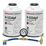 ZeroR Top Off Kit #2 - Genuine 8oz HFO-R1234yf Refrigerant (2 Cans) & HD Brass Can Tap with Gauge