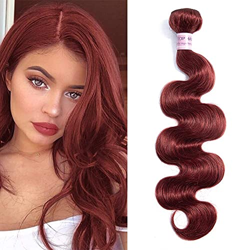 Light Burgundy Peruvian Virgin Hair Body Wave Bundles 100% Unprocessed Peruvian Virgin Human Hair Weave Extensions Light Red Wavy Body Wave Human Hair Bundles for Black Women(16 Inch, Color 33)