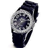 Lancardo Reloj Analógico Elegante de Cuarzo Original Jalea Correa de Silicona Pulsera Electrónica de Moda con Bisel de Diamantes Artificiales Dial con Números Árabes para Mujer Dama (Negro)