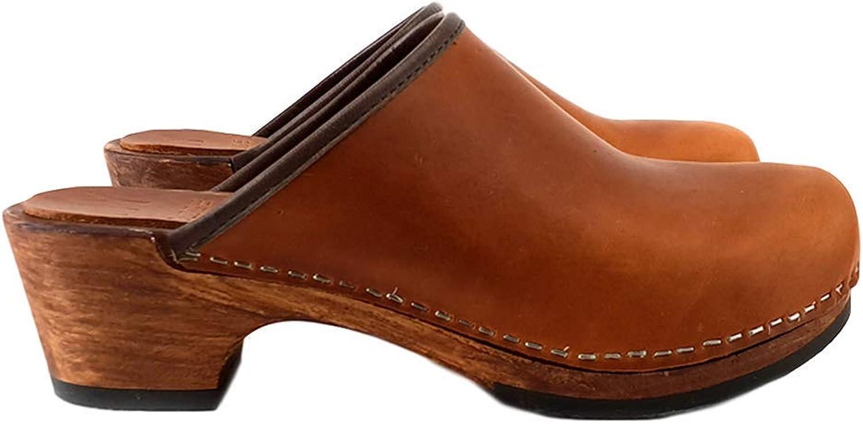 Kiara shoes Classical Brown Black Dutch Leather Clogs - MY573