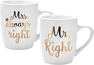 Mr Right Mrs Always Right Coffee Mugs Couple Mug Wedding Gift for Bride and Groom Engagement Anniversary Gift Thanksgiving Christmas Birthday Gifts for Couple Lover Printing with Gold 2 Pack 12Oz