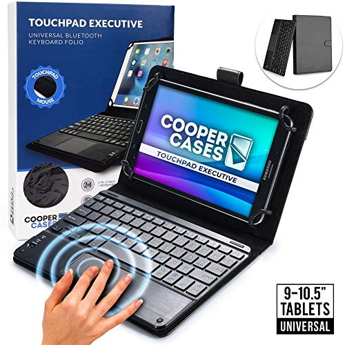 """Cooper Touchpad Executive [Multi-Touch Mouse Keyboard] case for 9-10.5"""" Tablets   Universal Fit   iPadOS, Android, Windows   Bluetooth, Leather (Black)"""