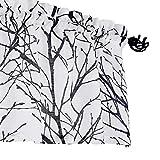 Fmfunctex White-Black Window Valance Curtain for Kitchen Living Room 18' Branch Print Valance for Basement Laundry Room 50' W x 18' L, 1 Panel