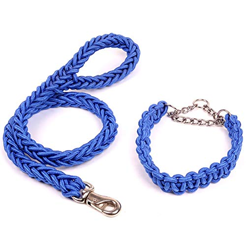WUNIA Braided Explosion-Proof Rope Chain, Dog Chain, Rope Highly Reflective Dog Leash Collar Set Nylon Rock Climbing Rope 8 Thread Braided Chain for Large and Medium Dogs,Blue,M