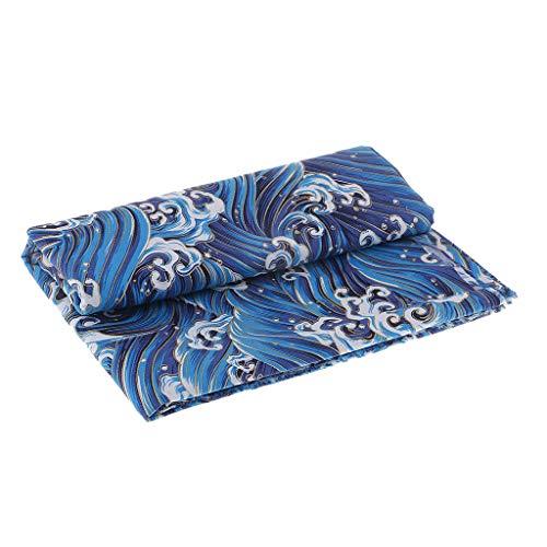F Fityle Paño de Tela de Algodón Japonés Kimono Vintage Patrón de Olas Oceánicas por Metro - 1 Metro