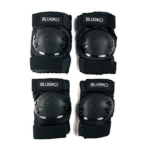 Bluoko Set di protezioni per skateboard, Monopattino o bicicletta, Nero, M