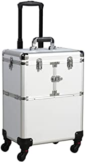 go2buy Aluminum Rolling Makeup Case Salon Cosmetic Box Organizer Trolley Train Case Wheeled Artist Travel