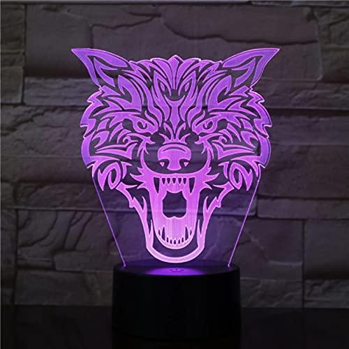 Fierce Wolf 3D Lampe 7 Farben ändert Touch 3D Nachtlicht Neuheit USB Led Geschenk Led Nachtlicht