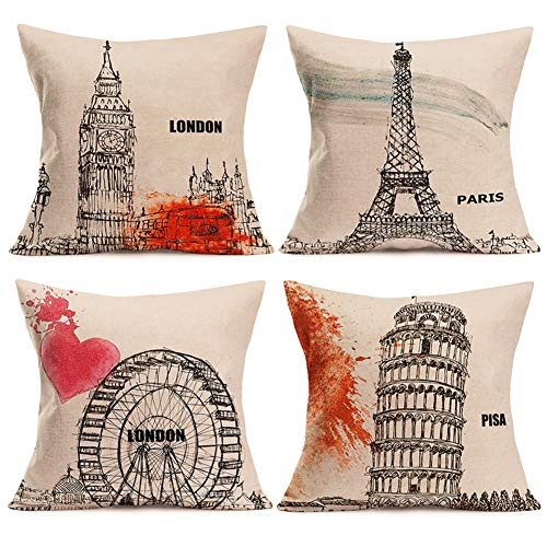 Smilyard Throw Pillow Covers London Big Ben Paris Eiffel Tower Pisa Leaning Tower Pillow Case Retro Euro Style Famouse Building Outdoor Decor Cushion Cover 18x18 Inch for Sofa 4 Pack (Euro-cities Set)