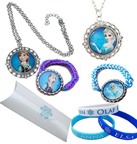 Orion Creations Eingefroren.Geschenkpackung. Snow Queen ELSA und Prinzessin Anna Halsketten mit AnhŠnger und 5 X Junior Grš§e Silikon und Loom ArmbŠnder