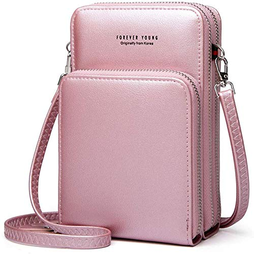 Womens Small Leather Crossbody Phone Purse Shoulder Bag Travel Messenger Handbag Pouch Cellphone Holster Cover Wallet Case Card Holder for iPhone 8 Plus Xs Max X Xr 7/6 Plus Samsung S10+ (Rose Gold)