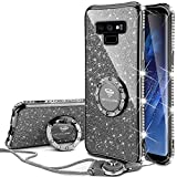 OCYCLONE Galaxy Note 9 Case, Glitter Cute Phone Case for Women Girls with Kickstand, Bling Diamond Rhinestone Bumper with Ring Stand Compatible with Galaxy Note 9 Case for Girl Women - Purple Black