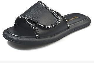 B/H Couples Chaussures de Plage décontractées,Sandales à Plateforme Summer Lazy, Pantoufles en Velcro-Noir_37,Sandales Nat...