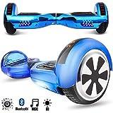Magic Vida Skateboard Électrique Bluetooth 6.5 Pouces avec LED Gyropode Smart Scooter Multicolor Auto-Équilibrage pour Enfants et Adultes,Sac de Transport et Télécommande offerts Bleu Chromé