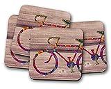 Silver Kangaroo Posavasos de bicicleta – juego de 4 alfombrillas para bebidas ideales para regalo de inauguración de la casa.