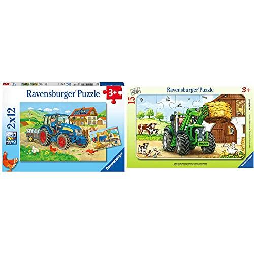 Ravensburger Kinderpuzzle - 07616 Baustelle und Bauernhof - Puzzle für Kinder ab 3 Jahren, mit 2x12 Teilen & Kinderpuzzle 06044 - Traktor auf dem Bauernhof - Rahmenpuzzle