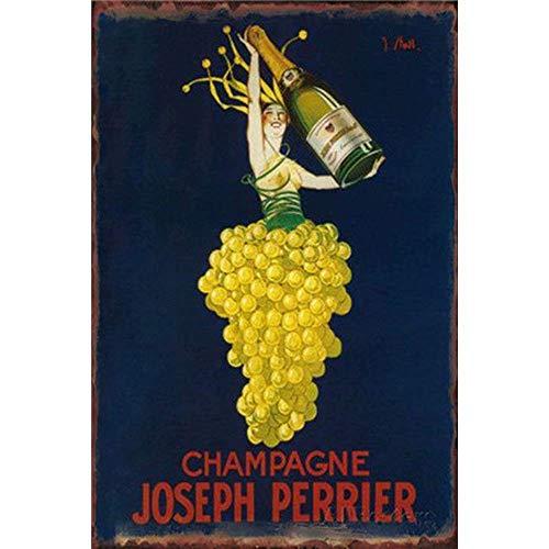 BAODIN Blechschild Champagner Joseph Perrier für Film Haus Bar Pub Lustig Wand Retro Kunst Schild 20x30cm