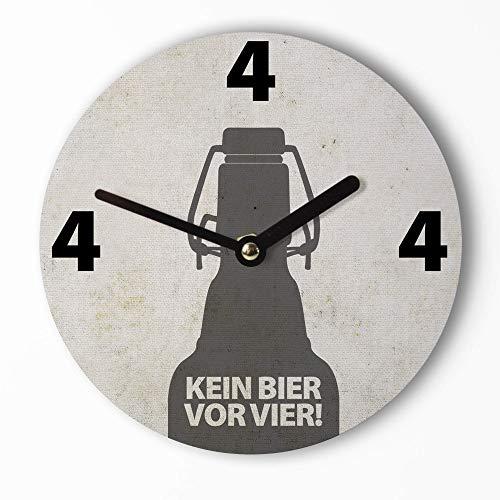 Design Mini-Wanduhr 15cm | Kein Bier Vor Vier - Lustige Mini Uhr mit Bier Motiv – Leises Uhrwerk – Handmade
