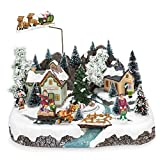 Best Choice Products Animated Musical Pre-Lit Tabletop Christmas Village w/Rotating Tree, Santa's Sleigh and Reindeer