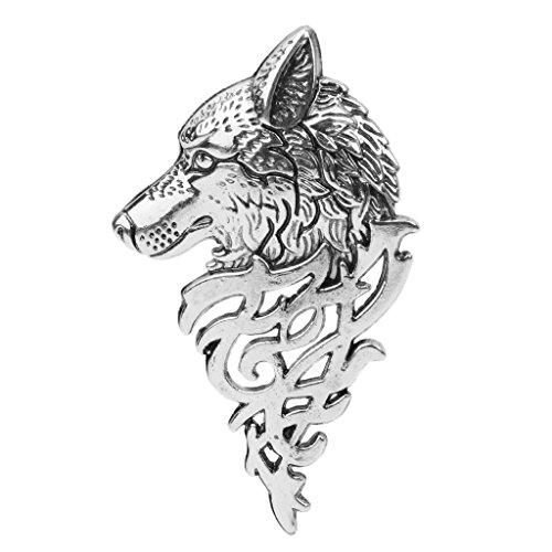 Xuniu Broche de Moda Broche, Retro Europa Insignia de la Cabeza del Lobo Broche de Solapa Pin Hombres Mujeres Camisa Traje Accesorio de Plata