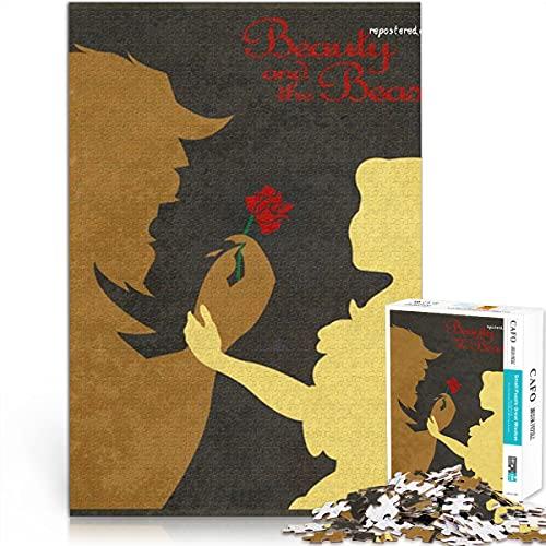 ZKSB Puzzle 1000 Piezas La Bella y la Bestia 1000 Piezas Poster Puzzle pasatiempo Juegos Hecho a Mano DIY Juego Puzzle 52x38cm