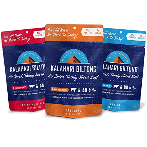 Kalahari Biltong | Air-Dried Thinly Sliced Beef | Variety Pack | 2oz (Pack Of 3) | Sugar Free | Keto & Paleo | Gluten Free | Better Than Jerky