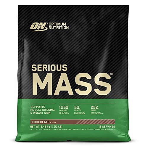 Optimum Nutrition Serious Mass Gainer, Proteine Whey in Polvere per Aumentare la Massa Muscolare con Creatina, Glutammina e Vitamine, Cioccolato, 16 Porzioni, 5.45 Kg, il Packaging Potrebbe Variare