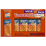 Lance Sandwich Crackers, Toastchee Peanut Butter, 20 Count Value Pack Boxes (Pack of 6)