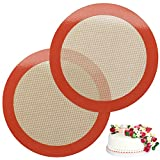 Silicone Baking Mats, 2 PCS Round Silicone Mats for 9 Inch Cake Pan, Non-Stick Reusable Cookie Sheet Liners for Baking Pans for Cake/Bread/Pizza/Macaron/Pastry/Cookie/Bun/Pie